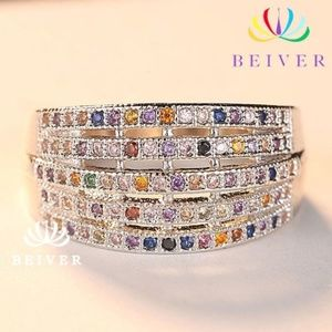 Multi Gemstone Silver Tone Wide Band Gold Filled 9